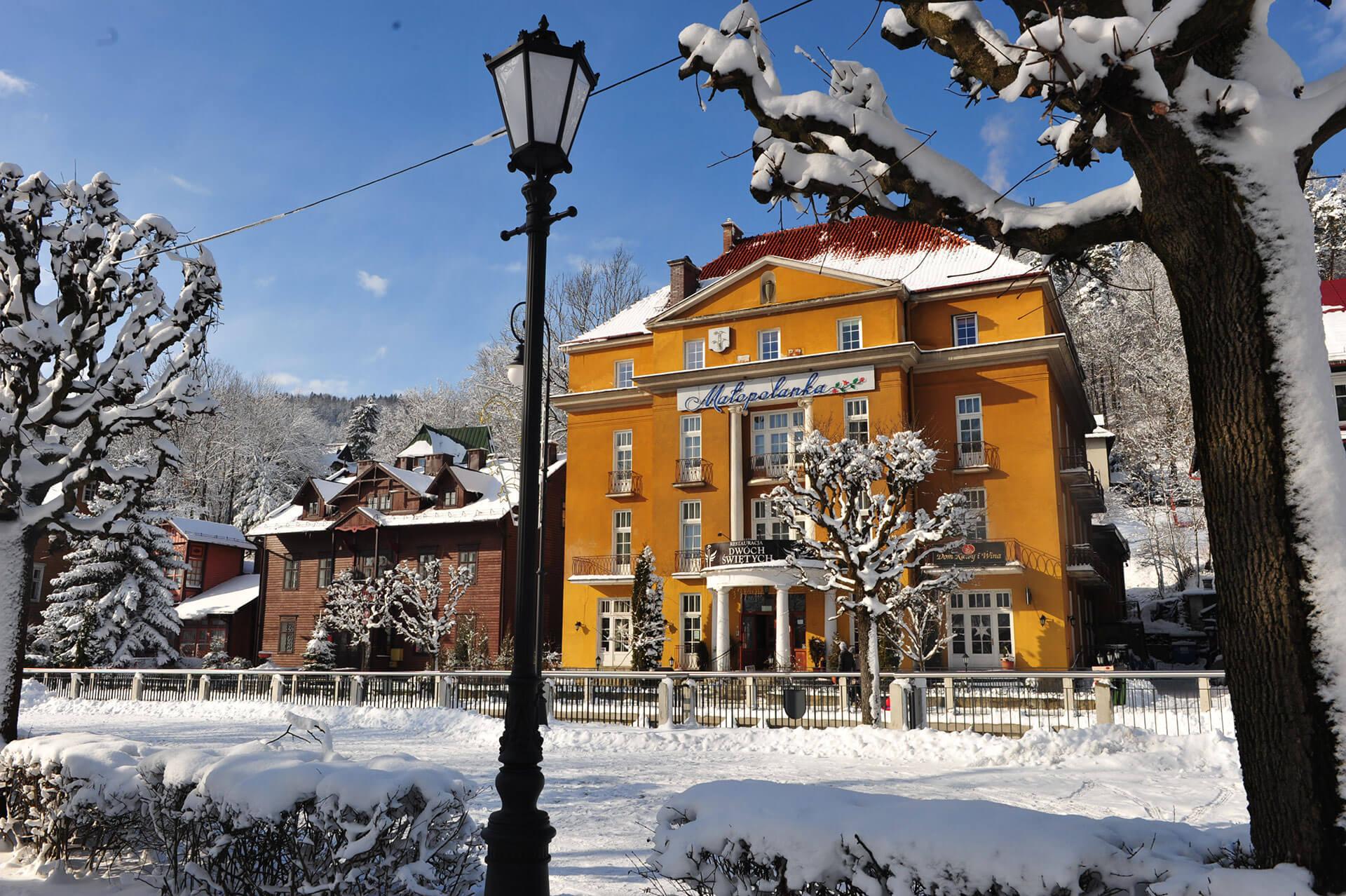 Krynica Górska pensjonat Małopolanka w zimie